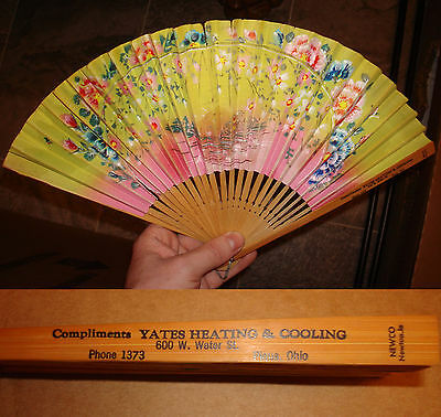 Vintage Advertising Yates Heating & Cooling Piqua Ohio Newco Painted Asian Fan