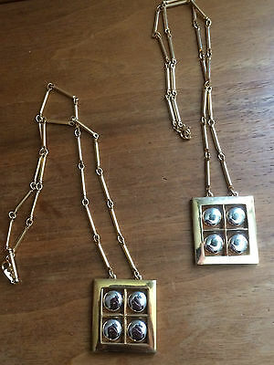 2 identical Artistry Gold-tone square necklaces w/ 4 silver-tone circles inside