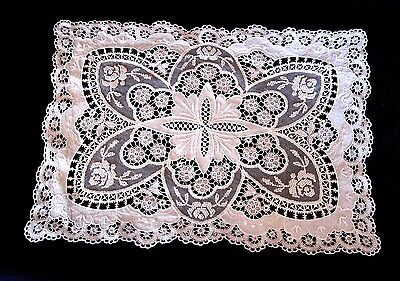 Exquisite Antique Needle Lace Doily Possibly Irish W/Embroidery & Linen