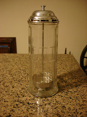 Intage Table Craft Straw Dispenser Paneled Glass