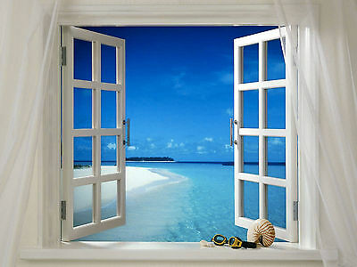 Beach Scene through a Window Home Decor Canvas Print. Framed or Unframed