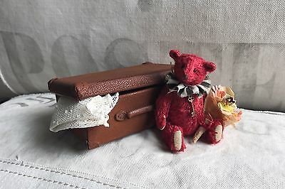Charming Handmade Miniature Teddy Bear w/ Leather Suitcase By Junko Fujinami
