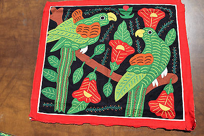 Green parrots & red flowers applique and embroidered Mola from San Blas Islands