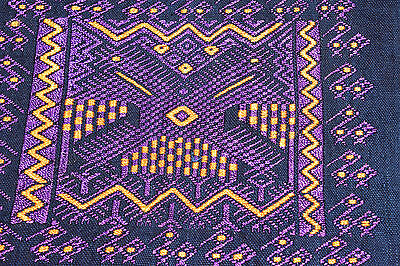 Handmade/handwoven from Guatemala - pillow cover purple & gold on black (2 of 2)