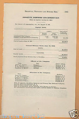 1902 RR report  BROOKLYN NEWTOWN & BOWERY BAY RAILROAD  Queens NYC Steinway NY