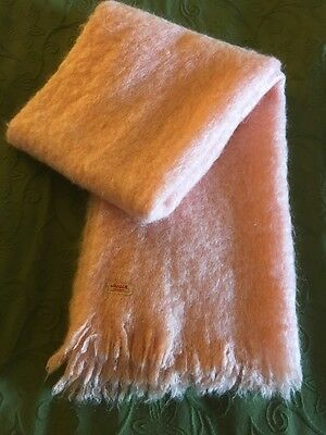 """VINTAGE JAEGER PINK MOHAIR WRAP SCARF MADE IN Great Britain 24""""x76"""""""