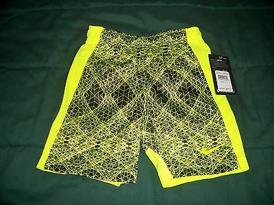 Nwt $28 Boys Size 5 Nike Dri Fit Black & Volt Athletic Shorts