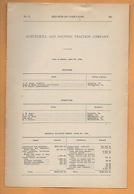 1909 electric trolley report SCHUYLKILL & DAUPHIN TRACTION COMPANY Pottsville PA