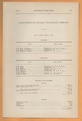 1909 paper report SCHAFFERSTOWN RURAL TELEPHONE COMPANY Myerstown PA Lebanon co