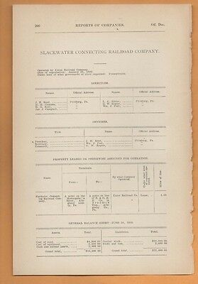 1909 train report SLACKWATER CONNECTING RAILROAD COMPANY Pittsburgh Braddock PA