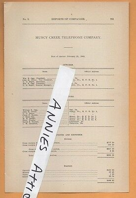 1909 vintage document MUNCY CREEK TELEPHONE COMPANY Opp PA Lycoming County