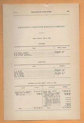 1909 electric trolley report JOHNSTOWN PASSANGER RAILWAY Cambria  PA streetcar