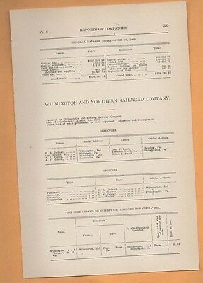 1909 train report WILMINGTON AND NORTHERN RAILROAD COMPANY Highs Farms PA DE