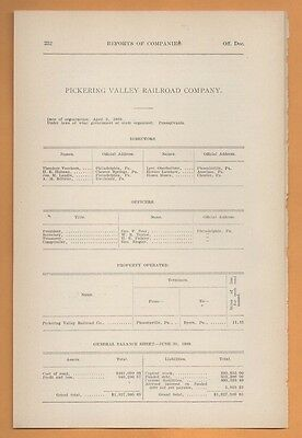 1909 train report PICKERING VALLEY RAILROAD Phoenixville Byers Pennsylvania PA