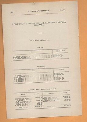 1909 electric trolley report LEWISTOWN & REEDSVILLE RAILWAY COMPANY Lewistown PA