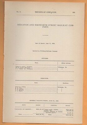 1909 electric trolley report BEN AVON & EMSWORTH STREET RAILWAY Pittsburgh PA