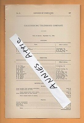 1909 rare paper report CALLENSBURG TELEPHONE COMPANY Clarion County PA