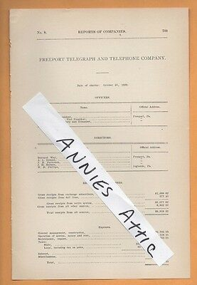 1909 vintage FREEPORT TELEGRAPH & TELEPHONE COMPANY Freeport PA Armstrong County