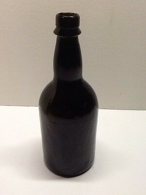 Antique Black Glass Early 3 Piece Mold Ale Or Beer Bottle.
