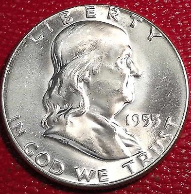 ***silver 50 Cents***1955 P Franklin Half Dollar Brilliant Uncirculated Bu