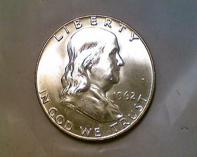 ***silver 50 Cents***1962 D Franklin Half Dollar Brilliant Uncirculated Bu
