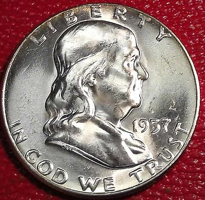 ***silver 50 Cents***1957 P Franklin Half Dollar Brilliant Uncirculated Bu