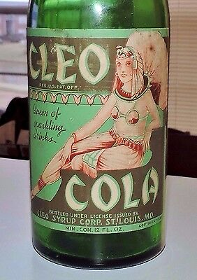 """Rare Straight Side Cleo Cola Green Paper Label Bottle""""  St. Louis, Mo. """"  Nice """""""