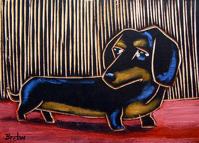 Dachshund DOG abstract OIL painting original Art ---  FREE SHIPPING
