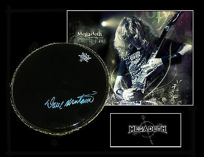 DAVE MUSTAINE signed and framed REMO EBONY  drumhead