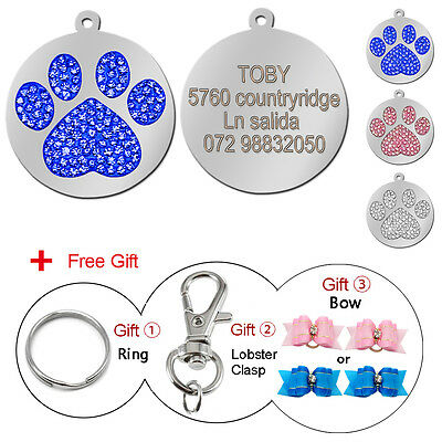 Bling Paw Personalized Pet Dog Tags Round Laser Disc Name ID Tags Engraved Free