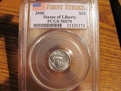 "2006 $10 PLATINUM EAGLE ""Statue Of Liberty"" PCGS MS70 List=$350"