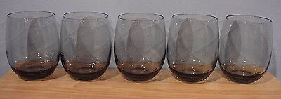5 Vintage Smoke Grey Roly Poly Tall Glasses 16 oz