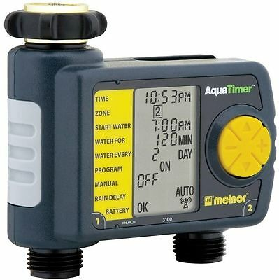 Automatic Programmable 2 - Outlet Outdoor Hose Timer Watering Irrigation System