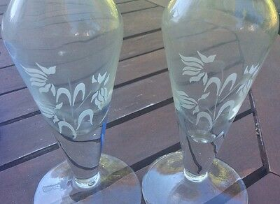 Twin crystal vases frosted print