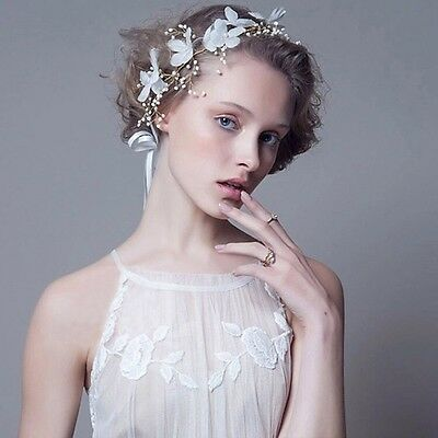 Pearl Flowers Bridal Hair Accessory PLUS FREE GIFT Vintage Headband Racing Cup