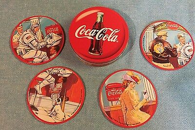 Coca Cola Coasters Tin Set 4 Advertising 1998  VINTAGE