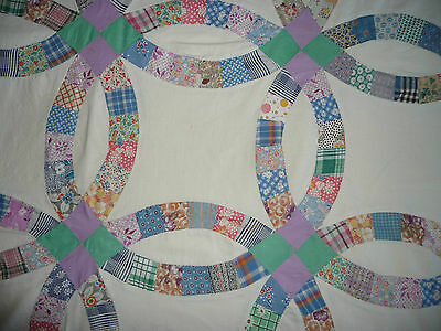 1930'S Pieced QUILT TOP DOUBLE WEDDING RING some feedsack fabric 84 by 72""