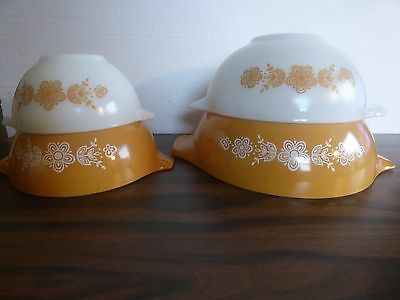 """Pyrex 4 pc """"ButterflyGold"""" mixing bowl set. excel cond."""