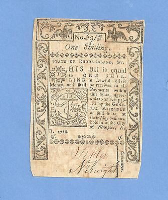 1786 One Shilling Rhode Island Colonial Currency Very Fine !