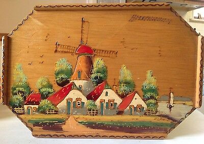 Antique Amsterdam Holland Folk Art Hand Painted Etched Wood Wall Hanging /Tray