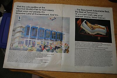 Beautyrest Adjustable Bed at the 1964-65 NY World's Fair '64 Life Magazine ad VG