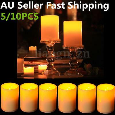 10X LED Flameless Resin Pillar Candles Flickering Light Battery Operated Timer