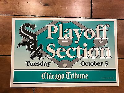VINTAGE CHICAGO WHITE SOX PLAYOFF SECTION SUN-TIMES TRIBUNE Sign RARE