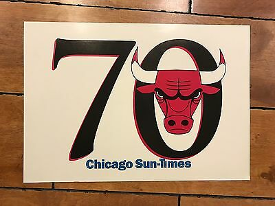 VINTAGE CHICAGO BULLS CATCH THE ROAD TO 70! SUN TIMES Tribune Sign RARE
