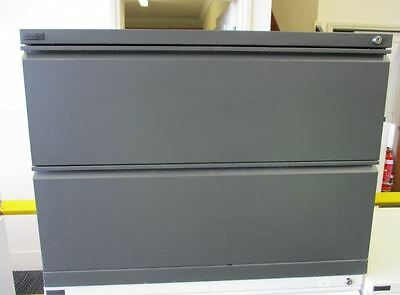 Two Drawer Dark Grey Lateral Filing Cabinet