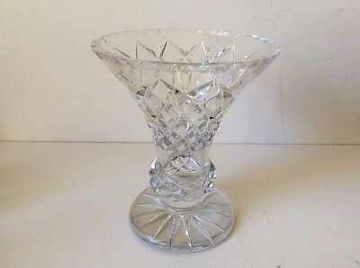 Vintage Lead Crystal Diamond Cut Footed Vase. Pick up from Blue Mountains /post