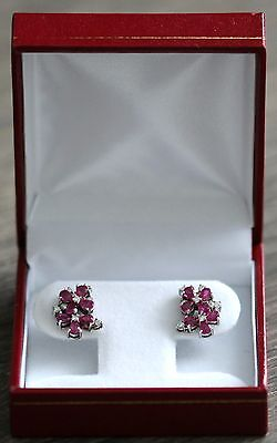 14K White Gold Ladies Ruby and Diamond Cluster Earrings