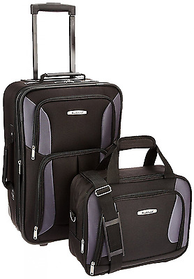 ROCKLAND Luggage 2-Piece Set, Black/Gray, One Size