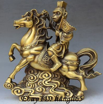 """12"""" Chinese Pure Bronze Monkey Sun Wukong Ride Fly horse instruct flag Statue"""