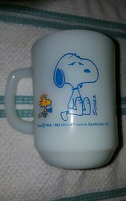 Vintage Fire King Peanuts Snoopy Mug 1958 I'm Not Worth Thing Before Coffee